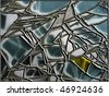cracked glass leaded - stock photo
