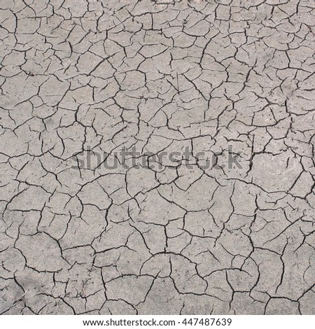 cracked ground, Ground in drought, Dry land. Global warming - stock photo