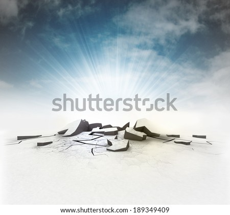 cracked ground hole with flare and sky illustration - stock photo