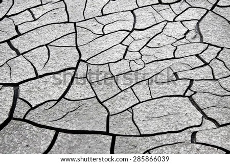 Cracked ground: the effects of drought - concept image - stock photo