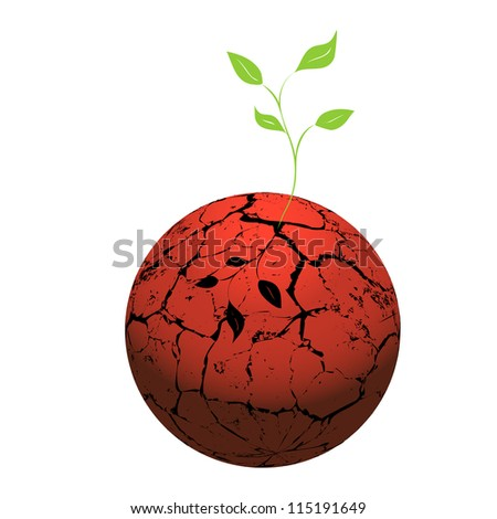 Cracked  heated earth and green sprout which grows from a crack. The concept - a problem of a global drowning. - stock photo