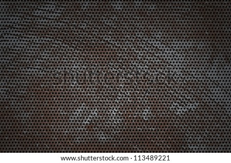 cracked hole metal texture. grunge background - stock photo
