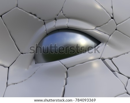 cracked human face, 3d illustration