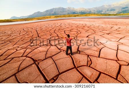 cracked land & drought land  - stock photo
