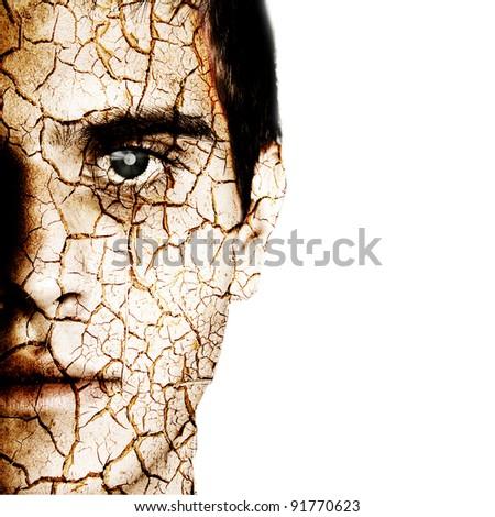 Cracked man's head - stock photo
