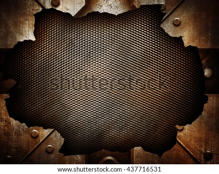 cracked metal background - stock photo