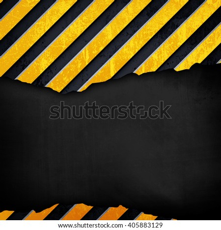cracked metal plate with warning stripes background