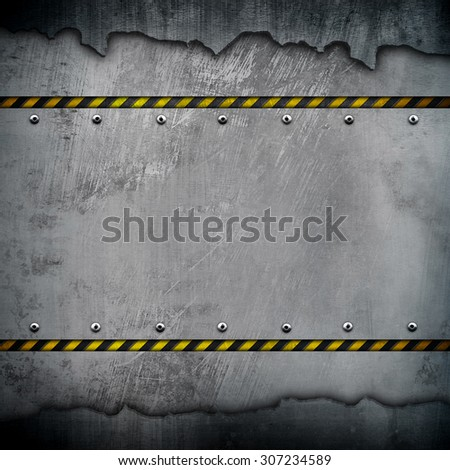 cracked metal with warning stripe - stock photo