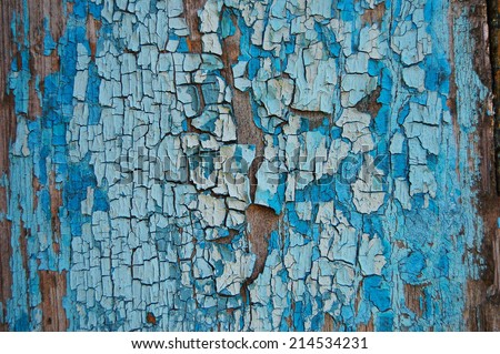Cracked paint on a wooden wall. Wall from wooden plank with paint traces. old painted wood wall texture, grunge background, cracked paint. Blue and white paint on wood - stock photo