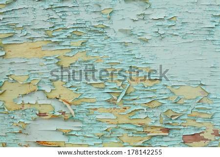 Cracked paint on door. texture  - stock photo