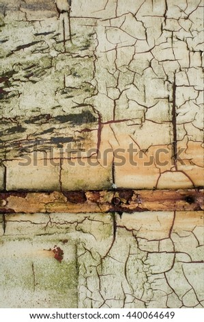 cracked painted facade - stock photo
