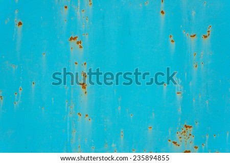 Cracked painted old metal texture. Turquoise color. Rusted surface. - stock photo