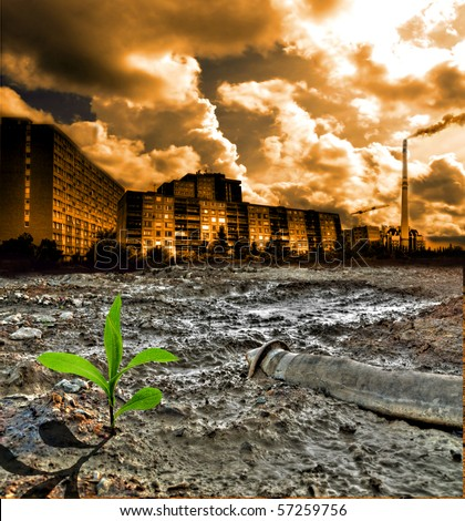 Cracked pollution ground - stock photo