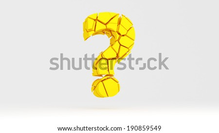 Cracked question mark for use in presentations, manuals, design, etc. - stock photo