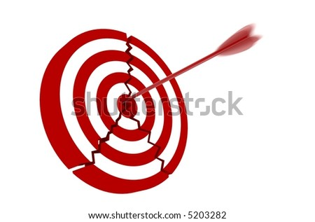 Cracked Red and White target with arrow - isolated on white