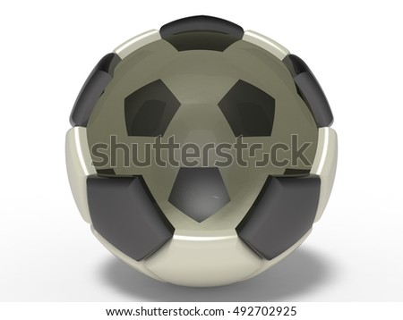 Cracked Soccer Ball. 3D illustration. 3D CG.