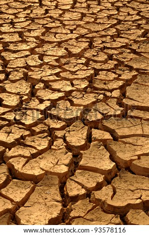 Cracked soil after flood - stock photo