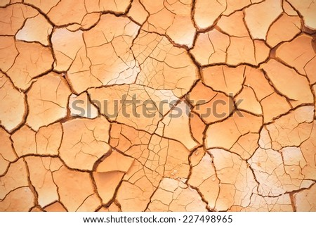 cracked soil ground, drought land so long waterless, with vignette - stock photo