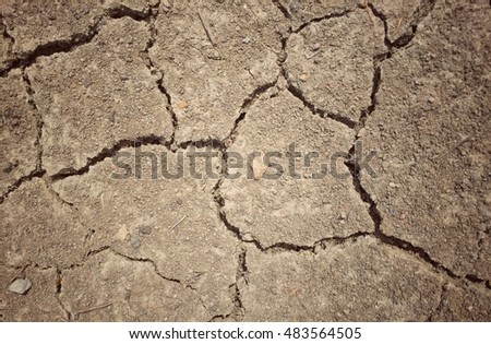 Cracked soil ground texture background in the sun with vintage effect