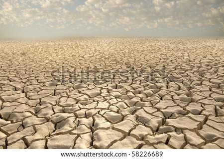 cracked soil pattern in the Zin valley, Arava, Israel. - stock photo