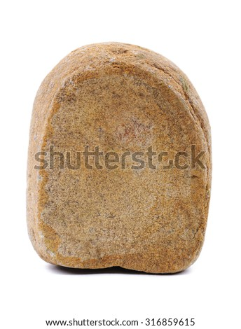 Cracked stone with front cut. Closeup. Isolated on white background. - stock photo