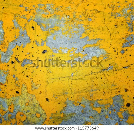 Cracked surface, yellow texture - stock photo