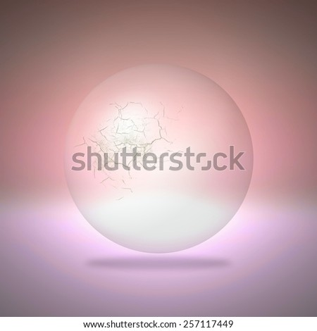 Cracked transparent sphere on red background - stock photo