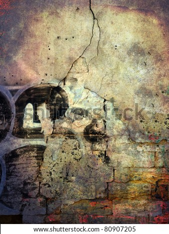 Cracked wall, underground grunge background