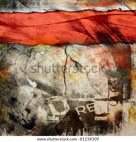 Cracked wall, underground grunge background - stock photo