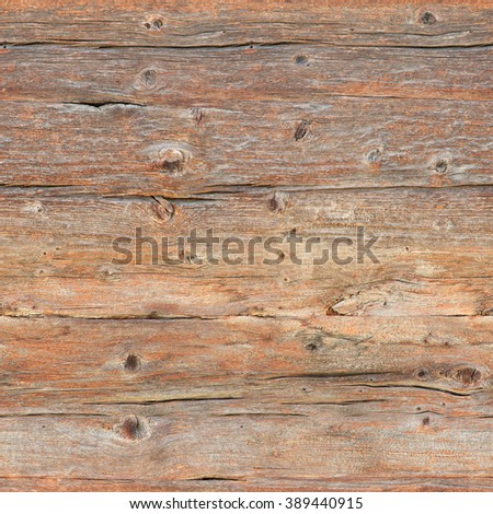 Cracked, weather-beaten wooden wall; Seamless grunge wood structure for background; Surface of raw wood boards - stock photo