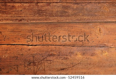 Cracked weathered brown painted wooden board texture - stock photo