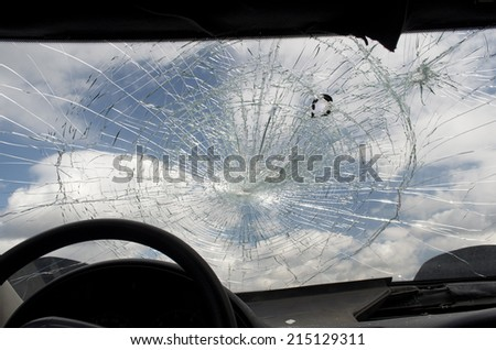 Cracked Windshield - stock photo