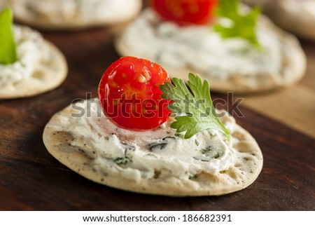Cracker and Cheese Hors D'oeuvres with Tomato and Parsley - stock photo