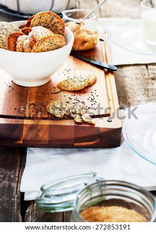 Cracker Cookies with Black Sesame Seeds as breakfast  - stock photo