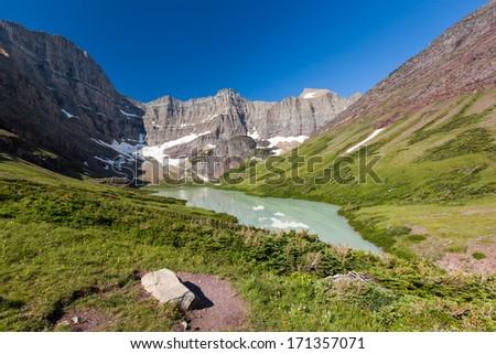 Cracker Lake in Glacier national park, MT  - stock photo