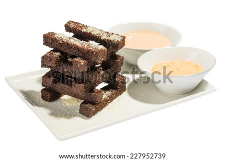 Crackers and sauce - stock photo