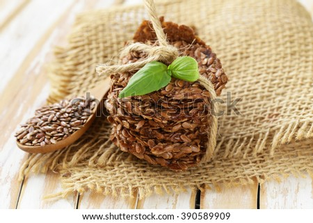crackers from flax seeds, healthy food gluten free - stock photo