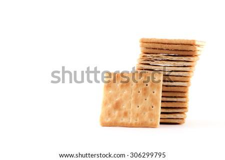 Crackers isolated on white background. - stock photo