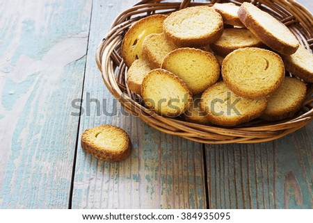crackers on a old  blue wooden background view from above - stock photo