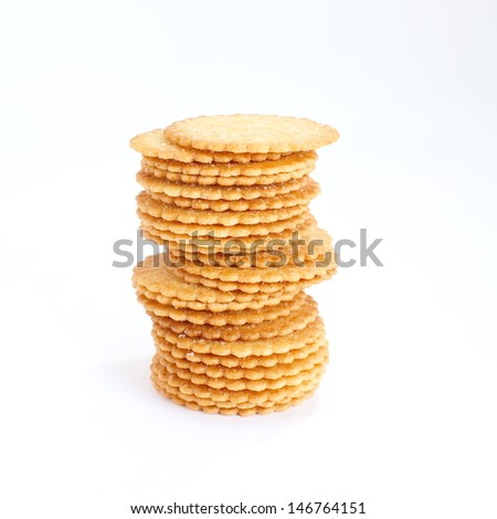 crackers on white background