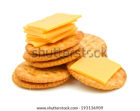 Crackers with cheese  - stock photo