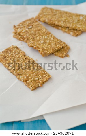 crackers with seeds - stock photo