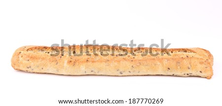 Crackling white bread with seeds. Isolated on a white background. - stock photo