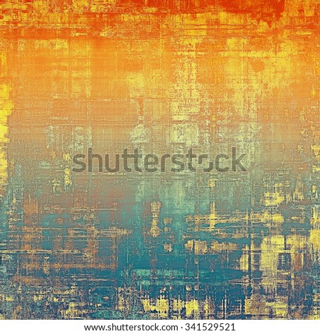 Cracks and stains on a vintage textured background. With different color patterns: yellow (beige); brown; blue; red (orange) - stock photo