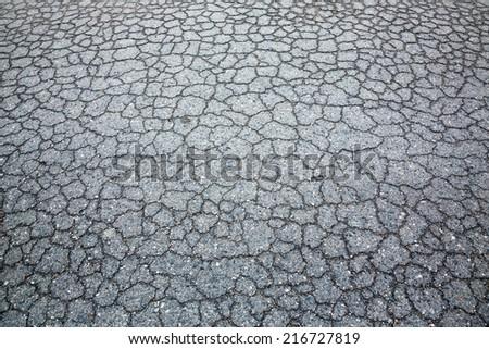 Cracks in the asphalt. - stock photo