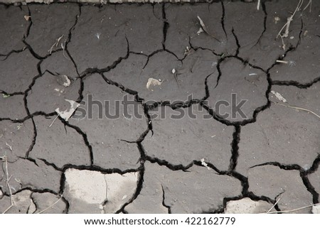 Cracks in the earth's crust. Abstract pattern of cracked mud  - stock photo