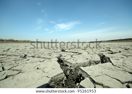 cracks in the land in rural areas, northern China - stock photo