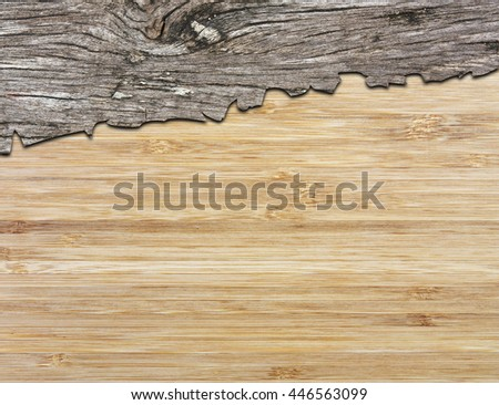 Cracks of the old bark wood on wooden plate or table for cover and header note
