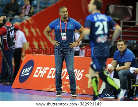 CRACOV, POLAND - JANUARY 15, 2016: Men's EHF European Handball Federation EURO 2016 Krakow Tauron Arena Macedonia France