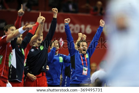 CRACOV, POLAND - JANUARY 29, 2016: Men's EHF European Handball Federation EURO 2016 Krakow Tauron Arena Germany Norway